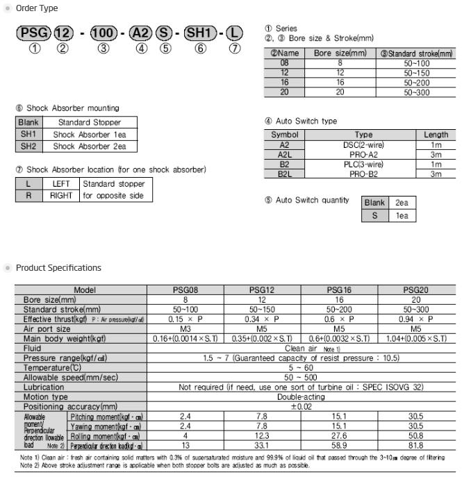 PROTEC Slide Cylinder PSG Type
