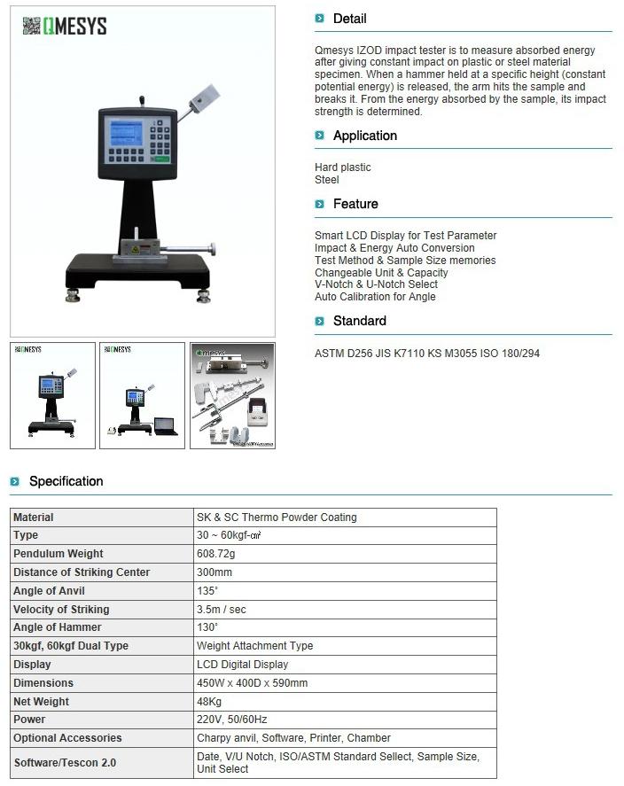 QMESYS Digital IZOD Impact Tester QM700A