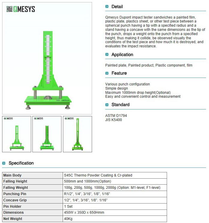 QMESYS Dupont Impact Tester QM700D