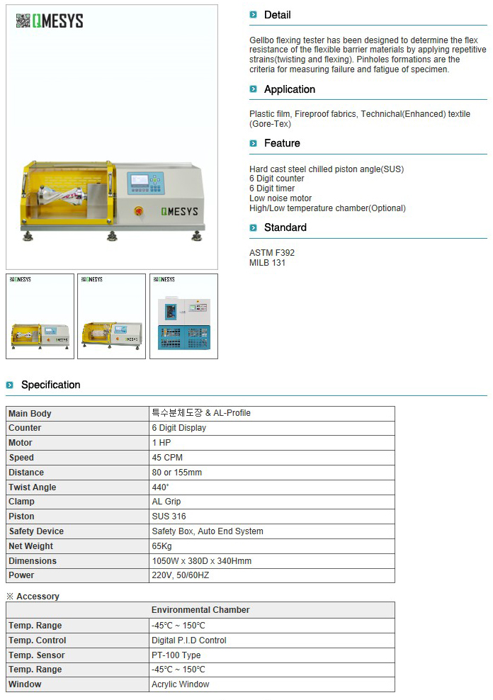 QMESYS Gellbo Flexing Tester QM550