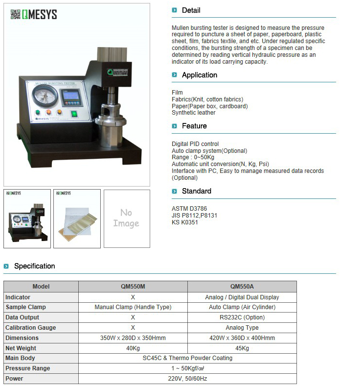 QMESYS Mullen Bursting Tester QM550