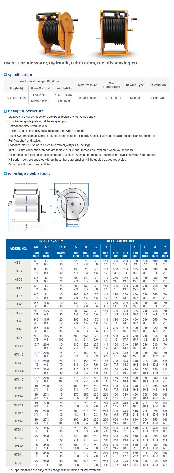 REEL TECH Manual Rewind Type HT-Series