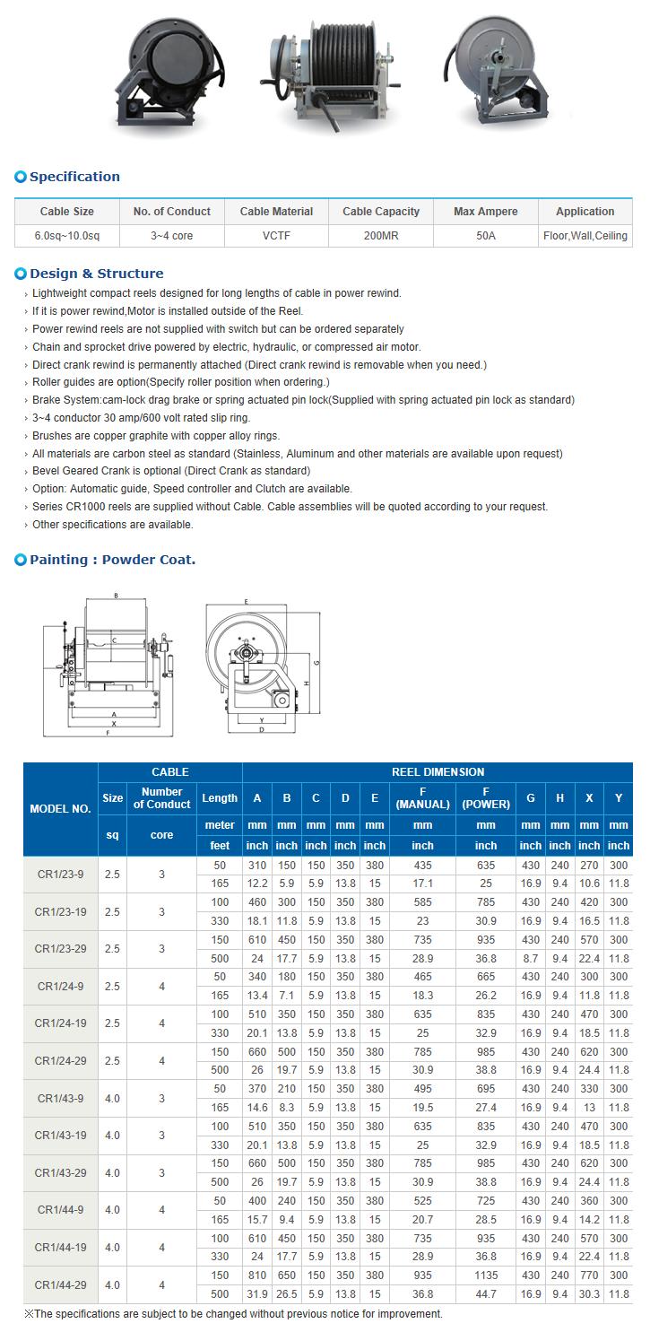 REEL TECH Power Rewind Type CR1000-Series