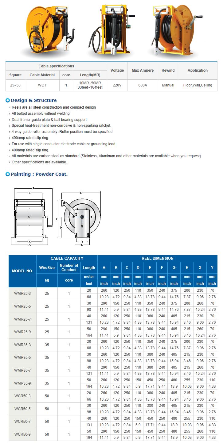 REEL TECH ARC Welding Cable Reel WMR-Series
