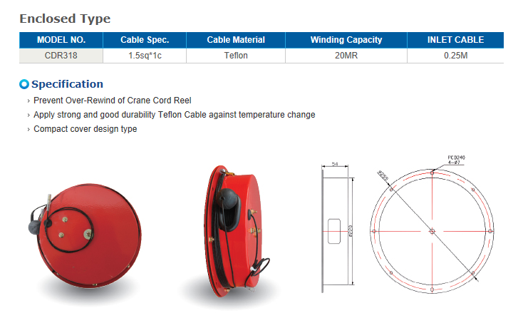 REEL TECH Over wind prevention-Enclosed Type Sensor Cord Reel CDR318