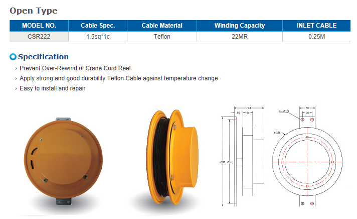 REEL TECH Over wind prevention-Open Type Sensor Cord Reel CSR222