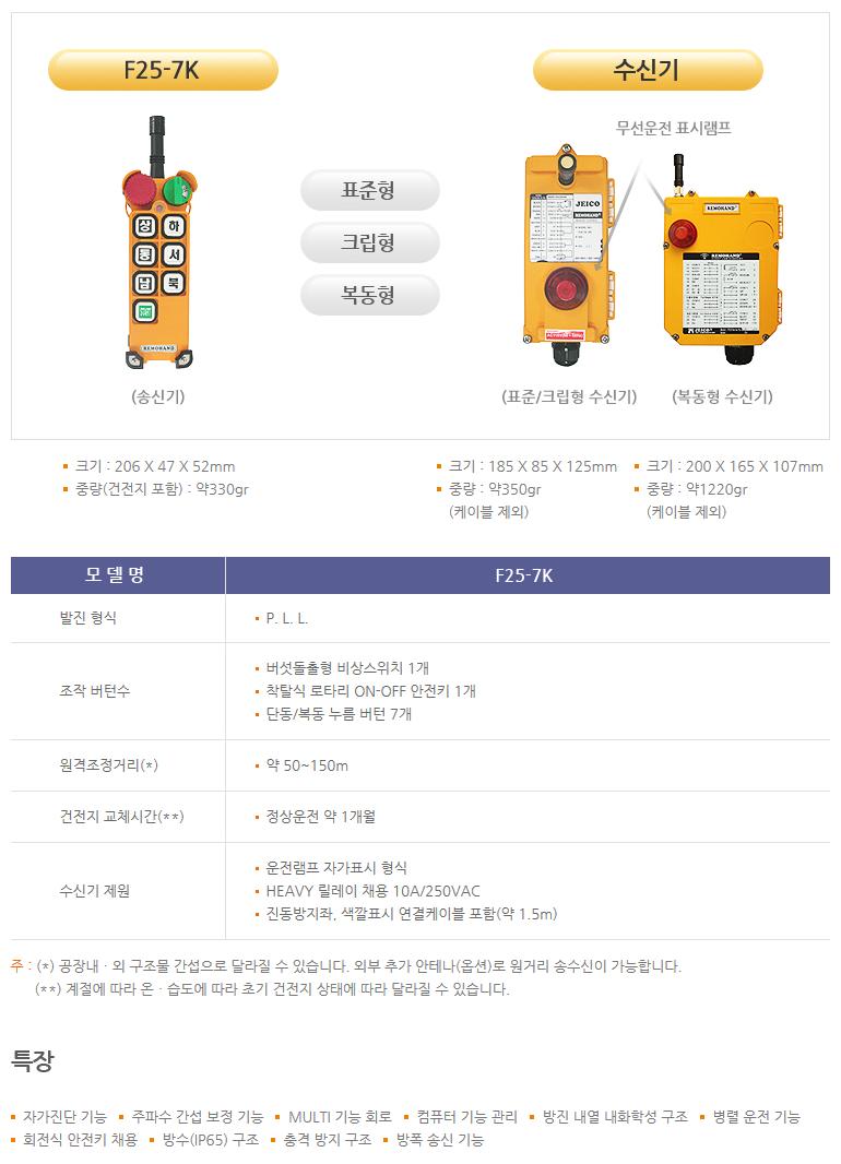 (주)제이코 산업용 무선리모콘 F25-7K