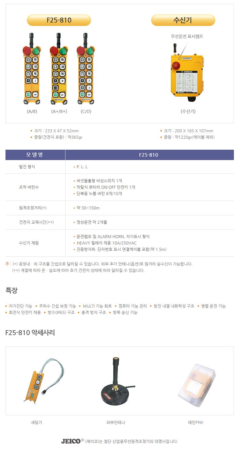 (주)제이코 산업용 무선리모콘 F25-810