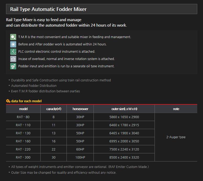 RINDO Rail Type Automatic Fodder Mixer RAT Series