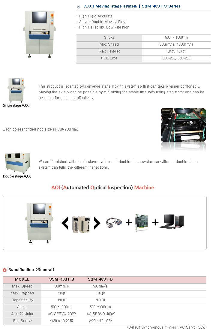 S&T Korea A.O.I Moving Stage System SDM/SSM-40S1-D