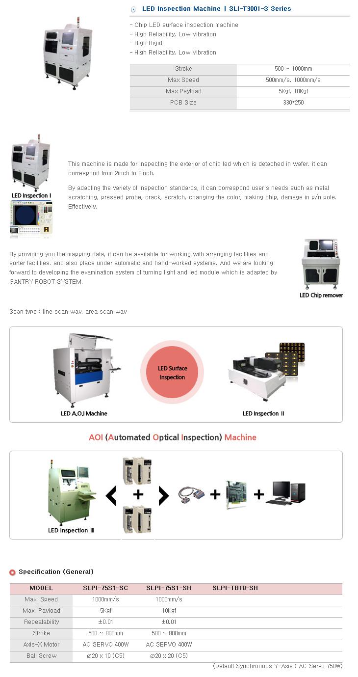 S&T Korea LED Inspection Machine SLI-T3001-S/SLI-T5001-L Series