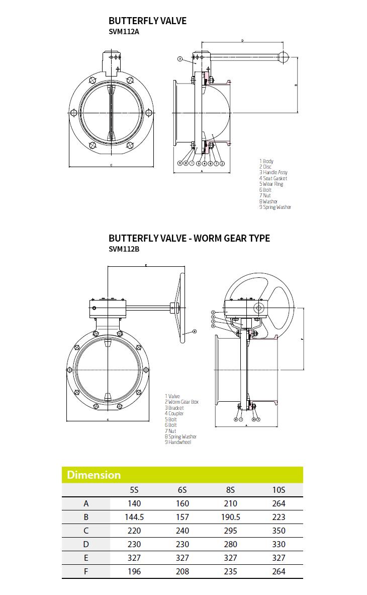 (주)에스밸브 Butterfly Valve SVM112A, SVM112B