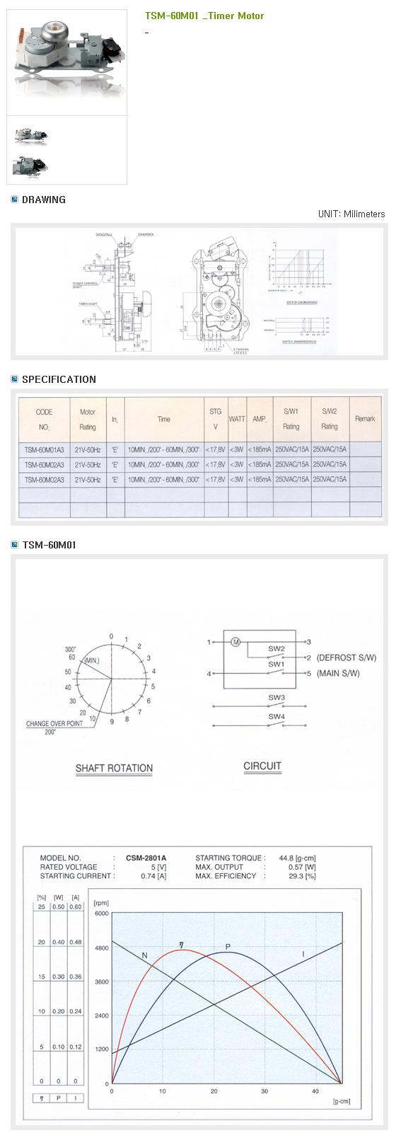 SAMHONGSA Timer Motor : Digital Camera Series TSM-60M01
