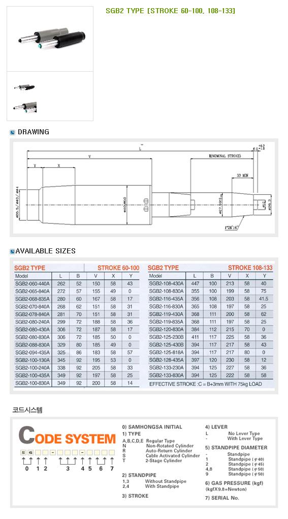 SAMHONGSA Gas Cylinder (Regular Type) SGB2 Type (STROKE 60-100, 108-133)