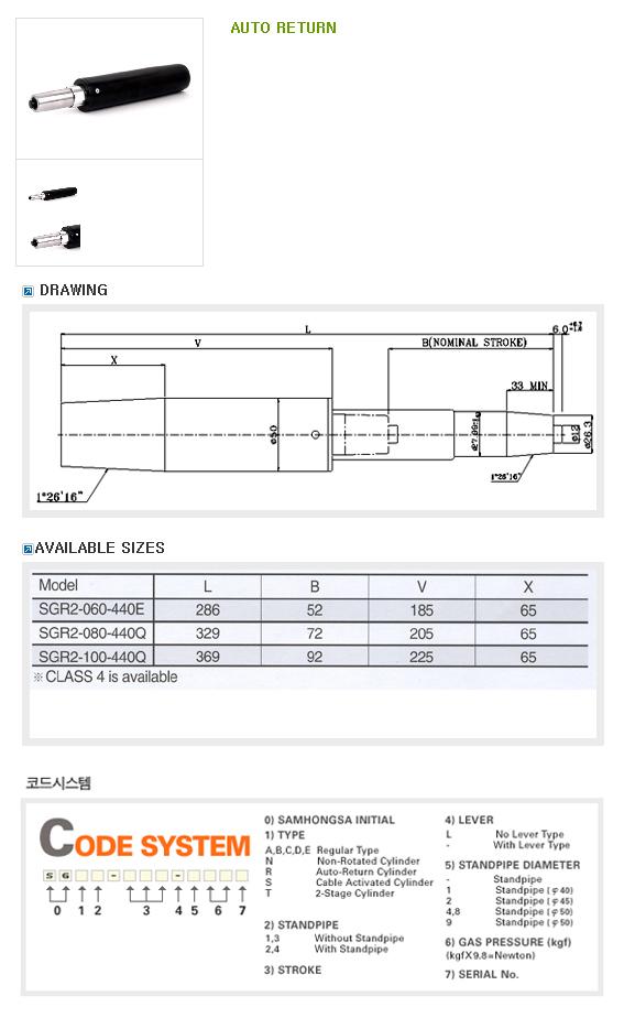 SAMHONGSA Gas Cylinder (Regular Type) AUTO RETURN