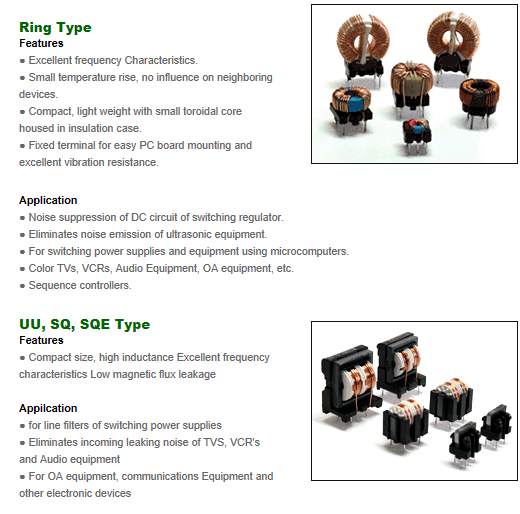 Samil Electronics Common Mode Choke Oils (Ring Type, UU.SQ.SQE Type)