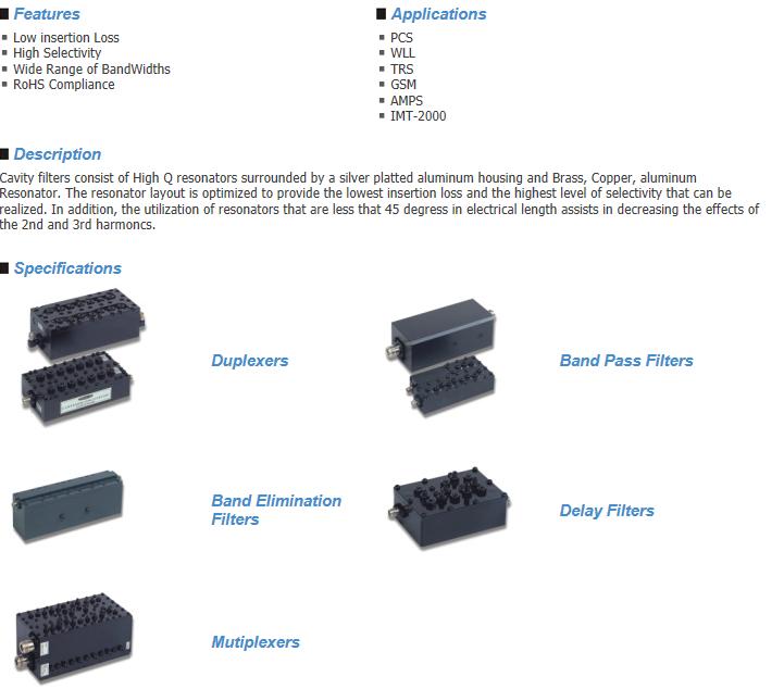Sangshin Elecom Cavity Filters