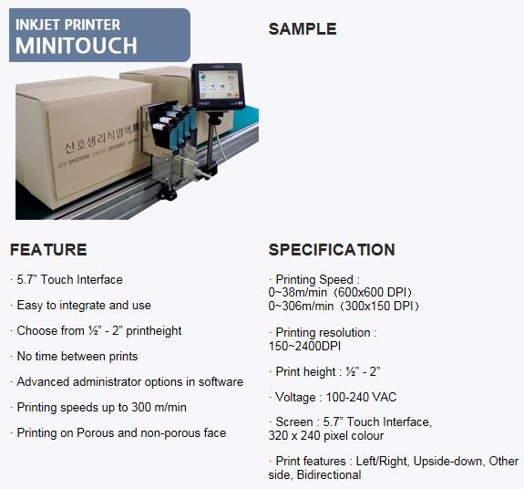 SANHO MACHINERY Inkjet Printer Minitouch