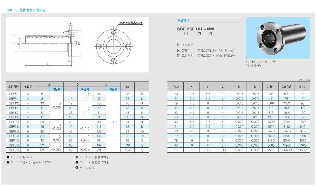 (주)에스비씨리니어 아시아형 볼부쉬 (원형 플랜지 롱타입) SBF-L