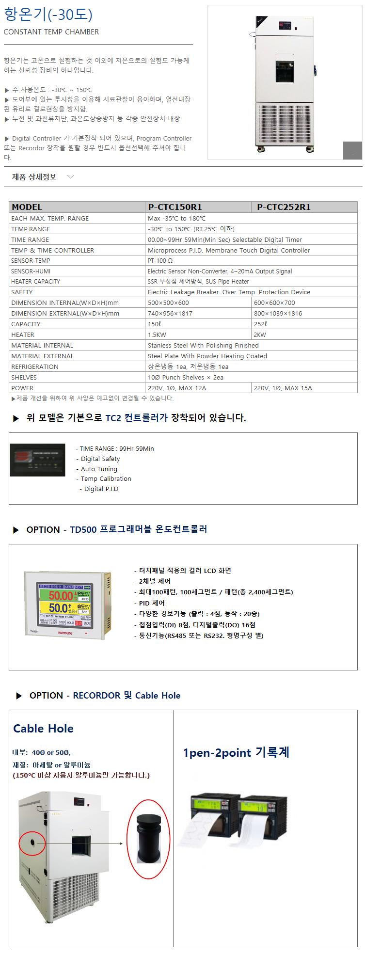 (주)에스씨이엔지 -30℃ P-CTC150R1/CTC252R1