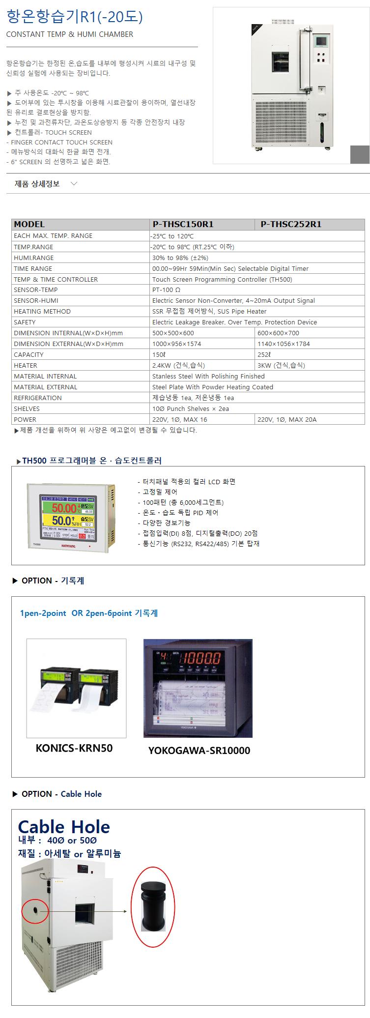 (주)에스씨이엔지 항온항습기R1 (-20도) P-THSC150R1/THSC252R1