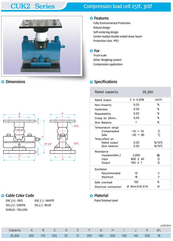 (주)세미코 Compression Load Cell (25tf, 30tf) CUK2 Series