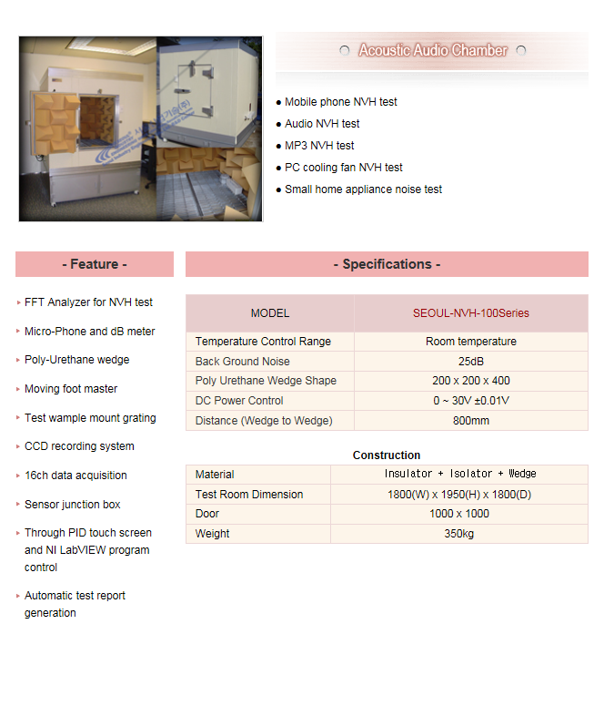 Seoul Industrial Technology Acoustic Audio Chamber SEOUL-NVH-100Series