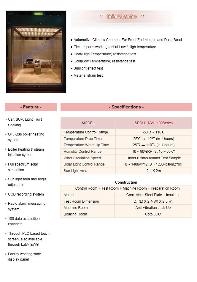 Seoul Industrial Technology Solar Chamber SEOUL-NVH-100Series