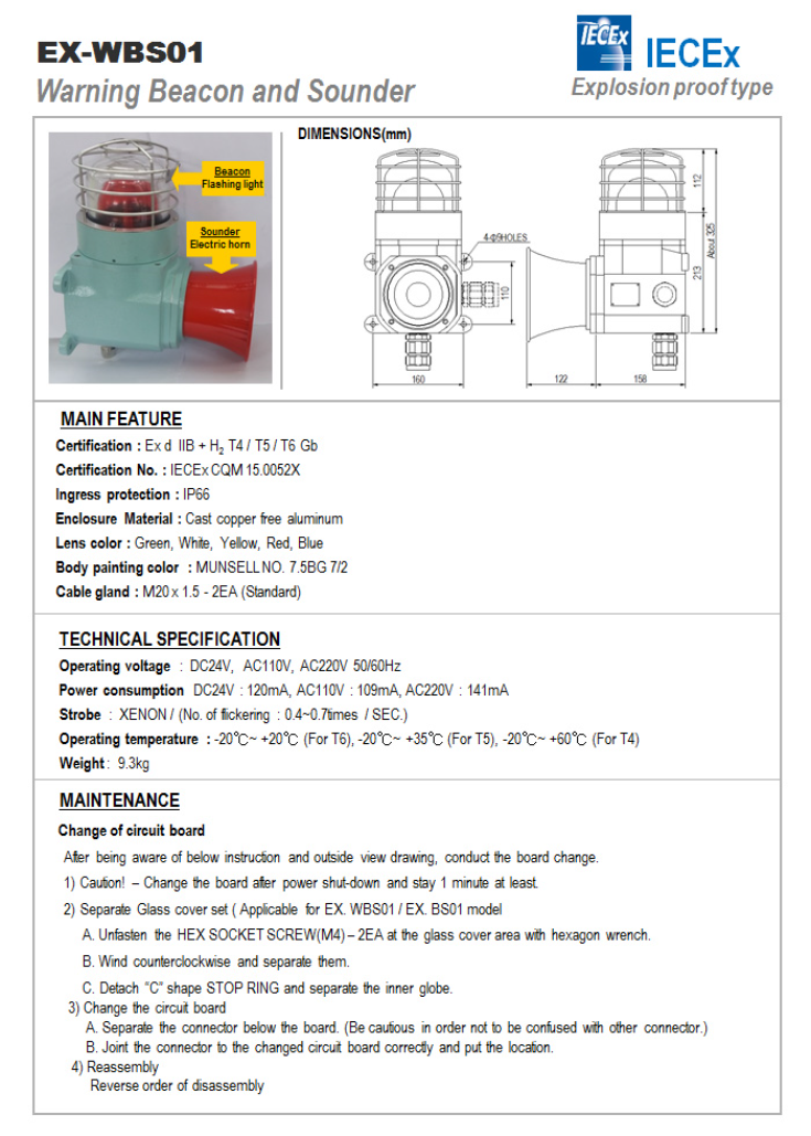 SEUN Warning Beacon an Sounder EX-WBS01
