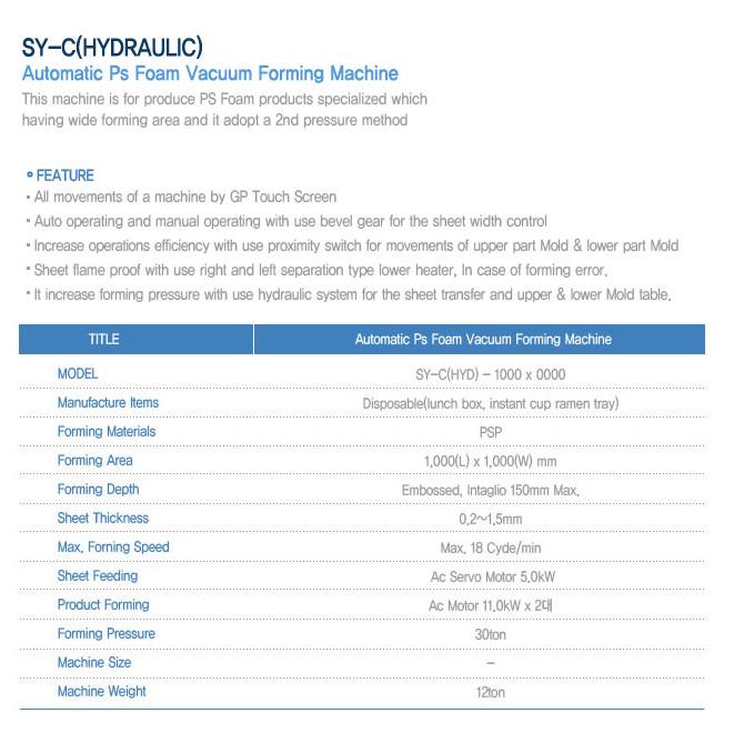 SEYANG MACHINERY Automatic PS Foam Vacuum Forming Machine SY-C (HYD) - 1000 X 0000