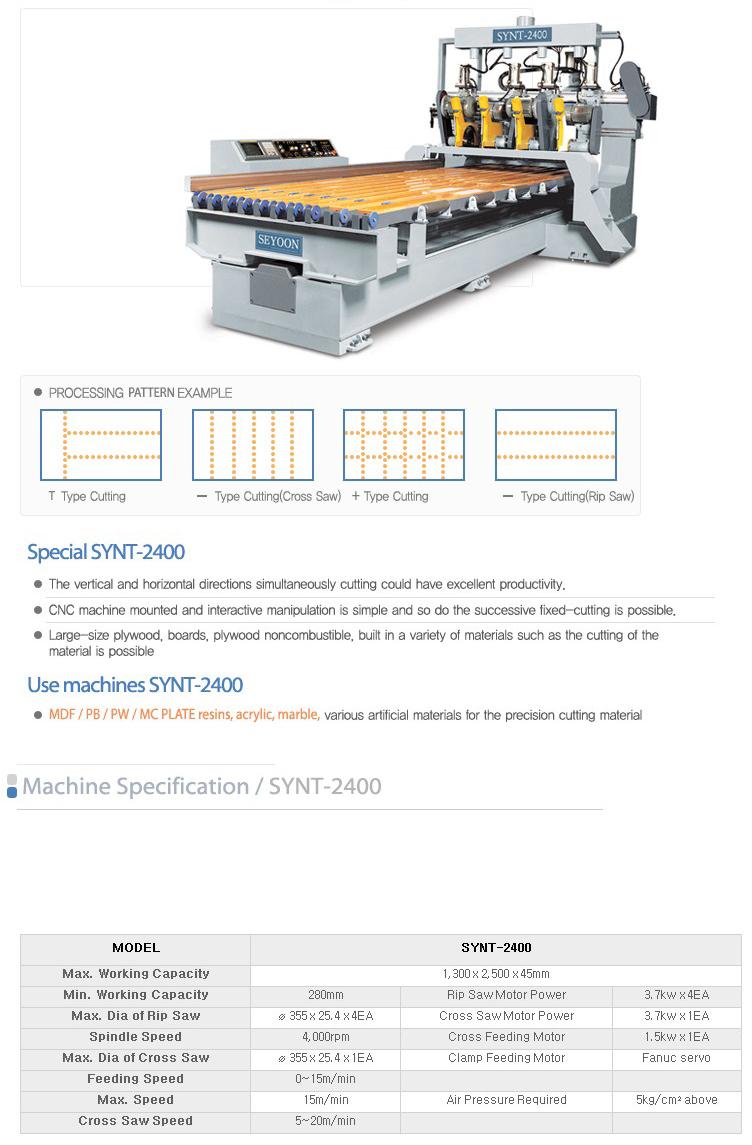 SEYOON NST CNC T-Cut Saw SYNT-2400