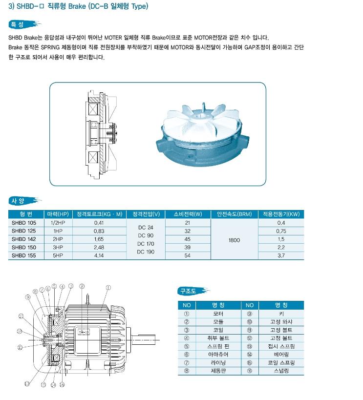 삼환기공 DC-B 일체형 Brake