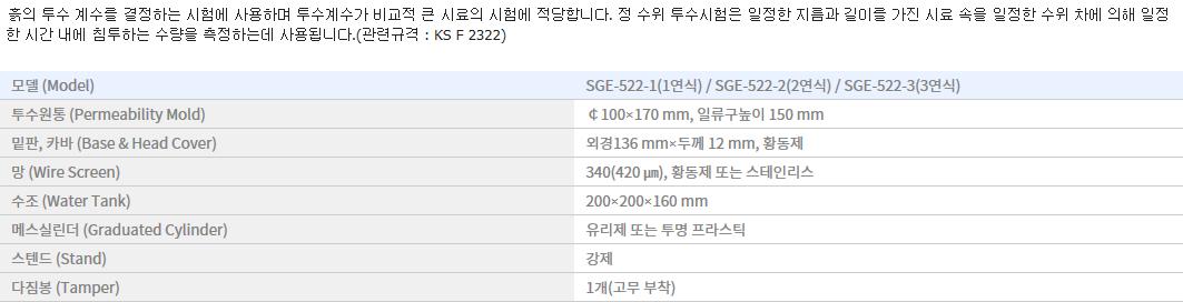 신강정밀공업(주) 정수위투수 시험기 SGE-522-1/2/3