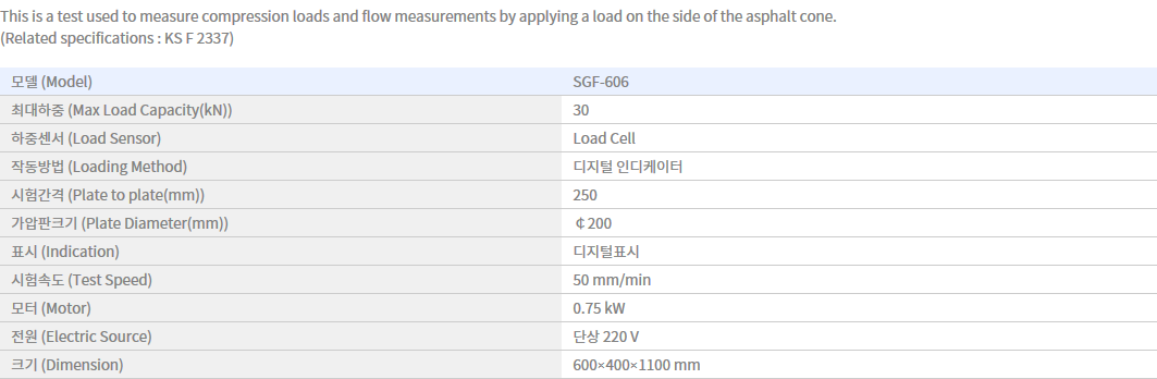 Shin Gang Precision Asphalt Marshall Compression Tester (Motor Type) SGF-606