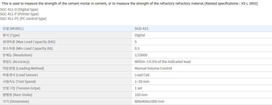 Shin Gang Precision Mortar Compression Test SGD-415