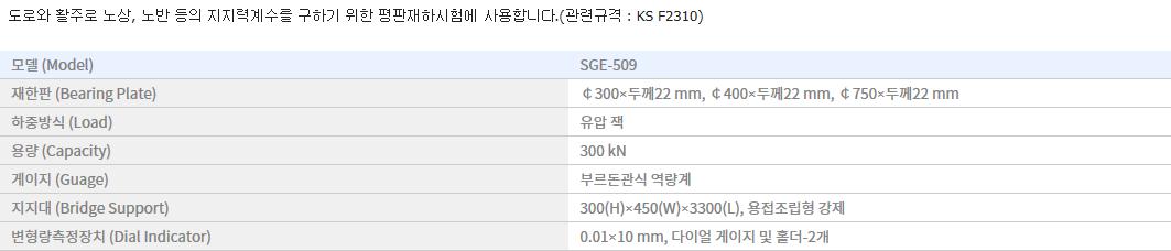 신강정밀공업(주) 평판 재하 시험기 SGE-509