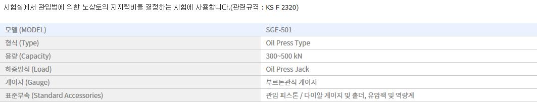 신강정밀공업(주) 디지털 C.B.R 시험기 SGE-501