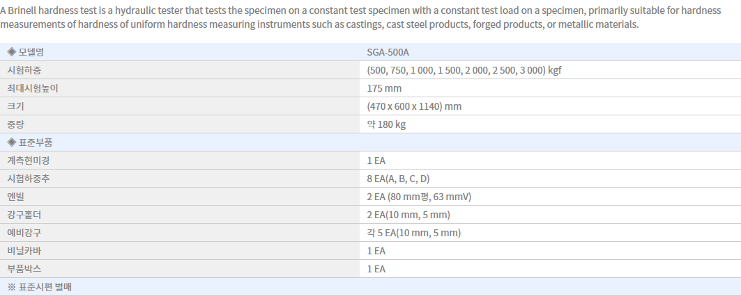 Shin Gang Precision Brinell Hardness Tester SGA-500A