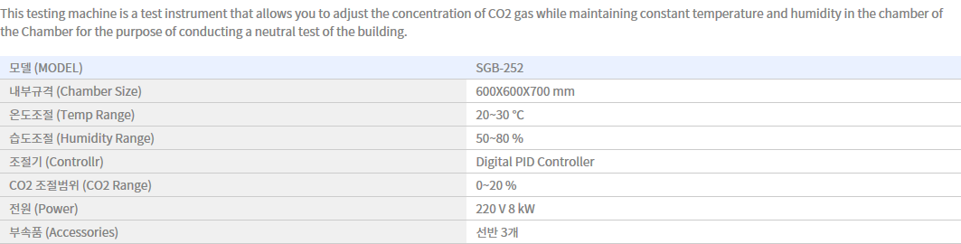 Shin Gang Precision Carbonation Test Chamber SGB-252