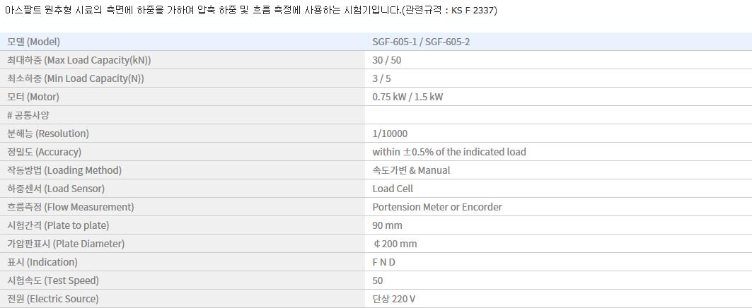 신강정밀공업(주) 마샬 안정도 시험기 (디지털) SGF-605-1/605-2 1