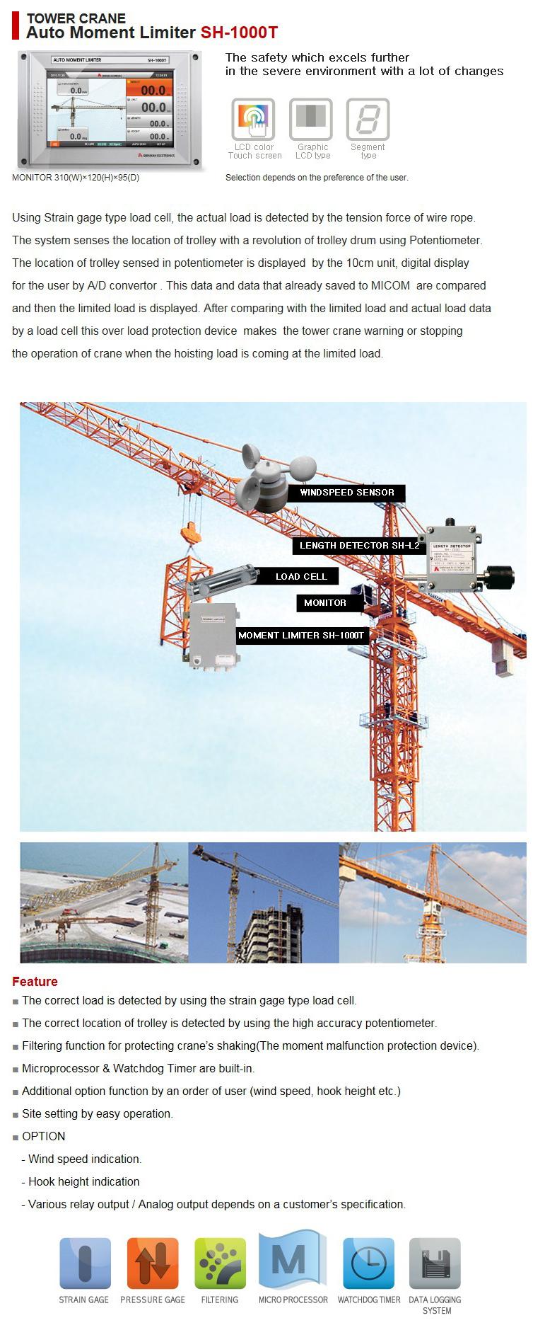 SHINHAN ELECTRIONICS Tower Crane Auto Moment Limiter SH-1000T