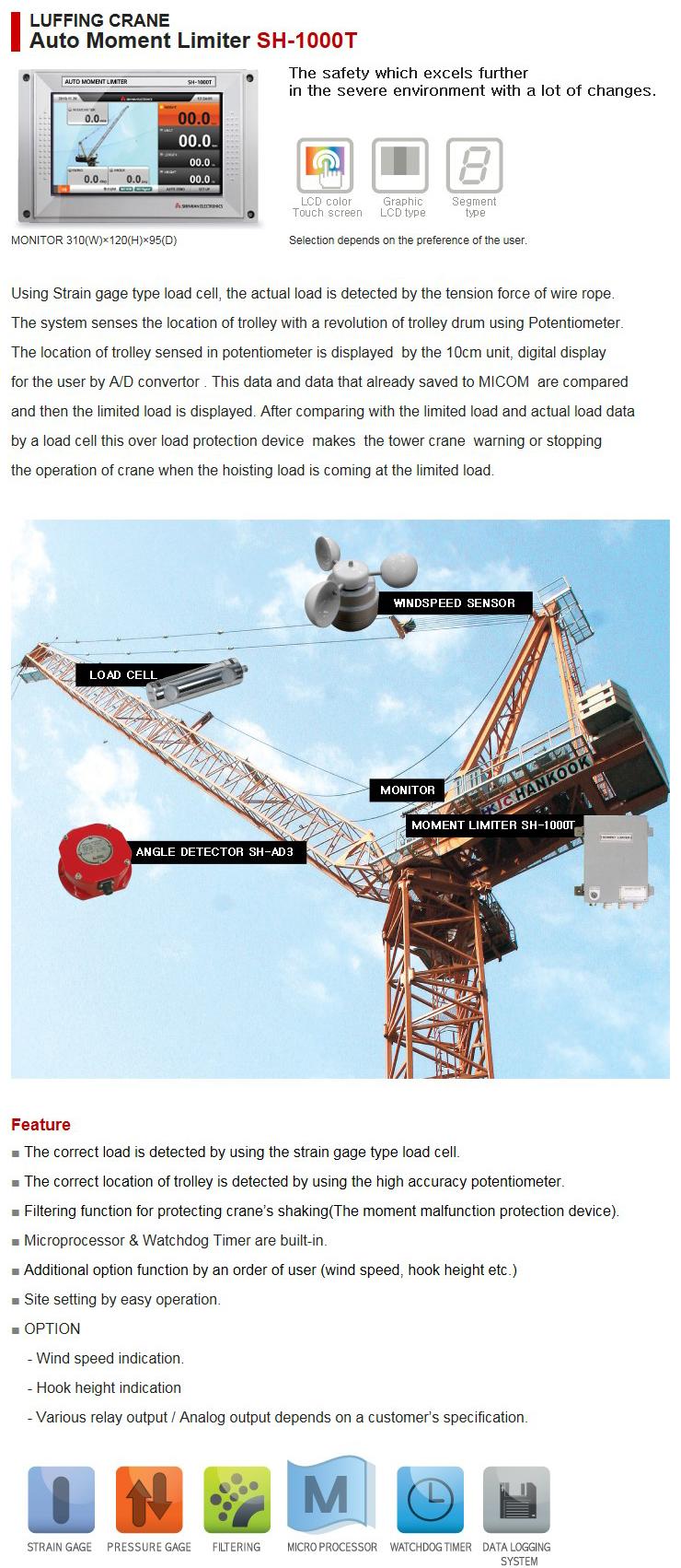 SHINHAN ELECTRIONICS Luffing Crane Auto Moment Limiter SH-1000T