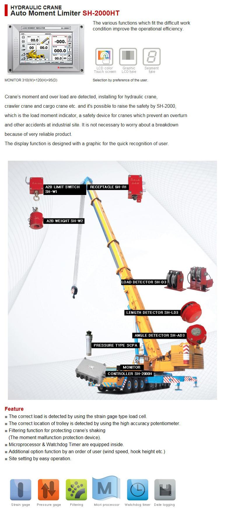 SHINHAN ELECTRIONICS Hydraulic Crane Auto Moment Limiter SH-2000HT