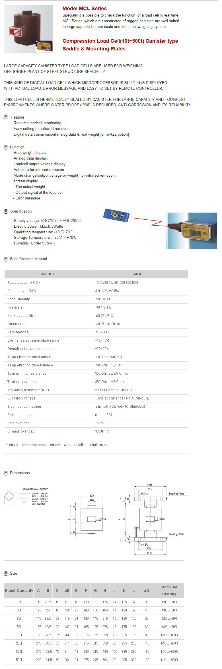 SHINHAN ELECTRIONICS Compression Load Cell MCL Series