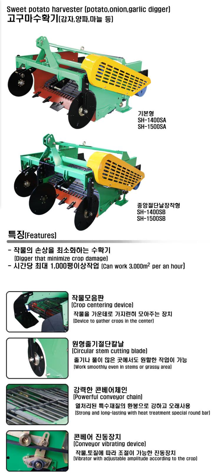SHIN HUNG INDUSTRY Harvester for Sweet Potato SH-SA/SB-Series