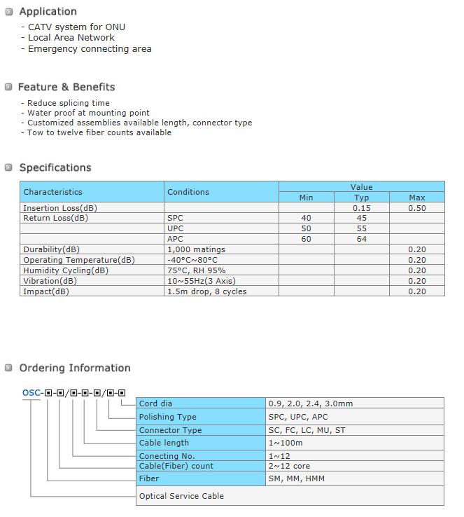Shinkwang I&C Fiber Optic Service Cable OSC Series