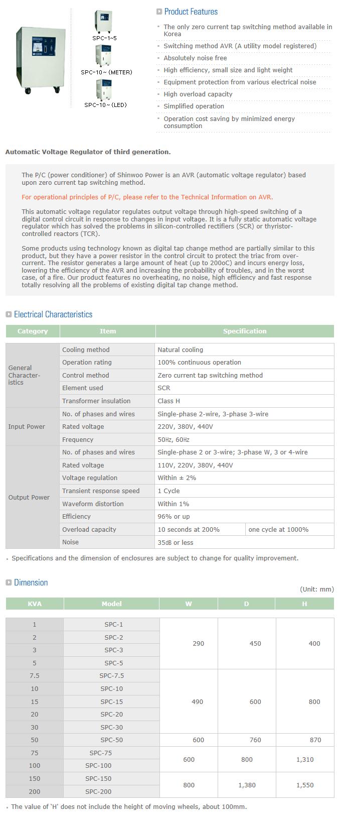 Shinwoo Power Technology AVR(P/C) (Single/Three-Phase) SPC/TPC Series