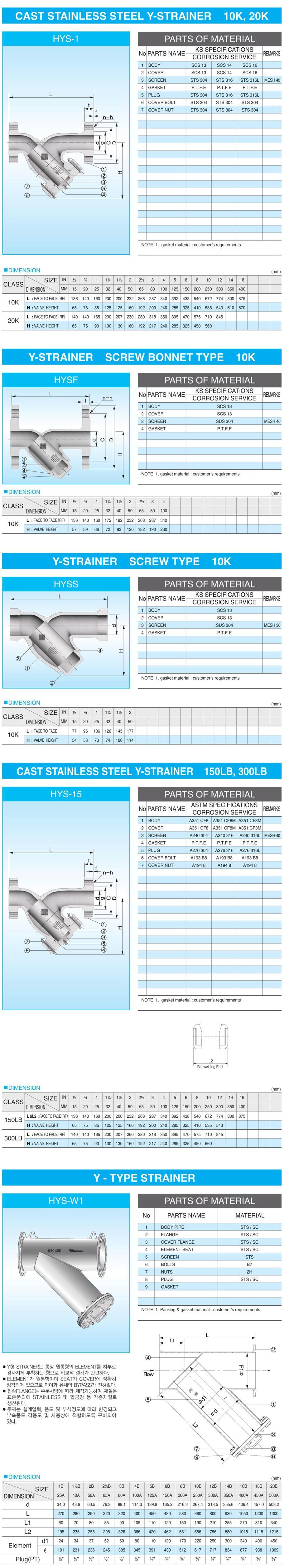 (주)신흥밸브공업 Y-Strainer Valve HYS Series
