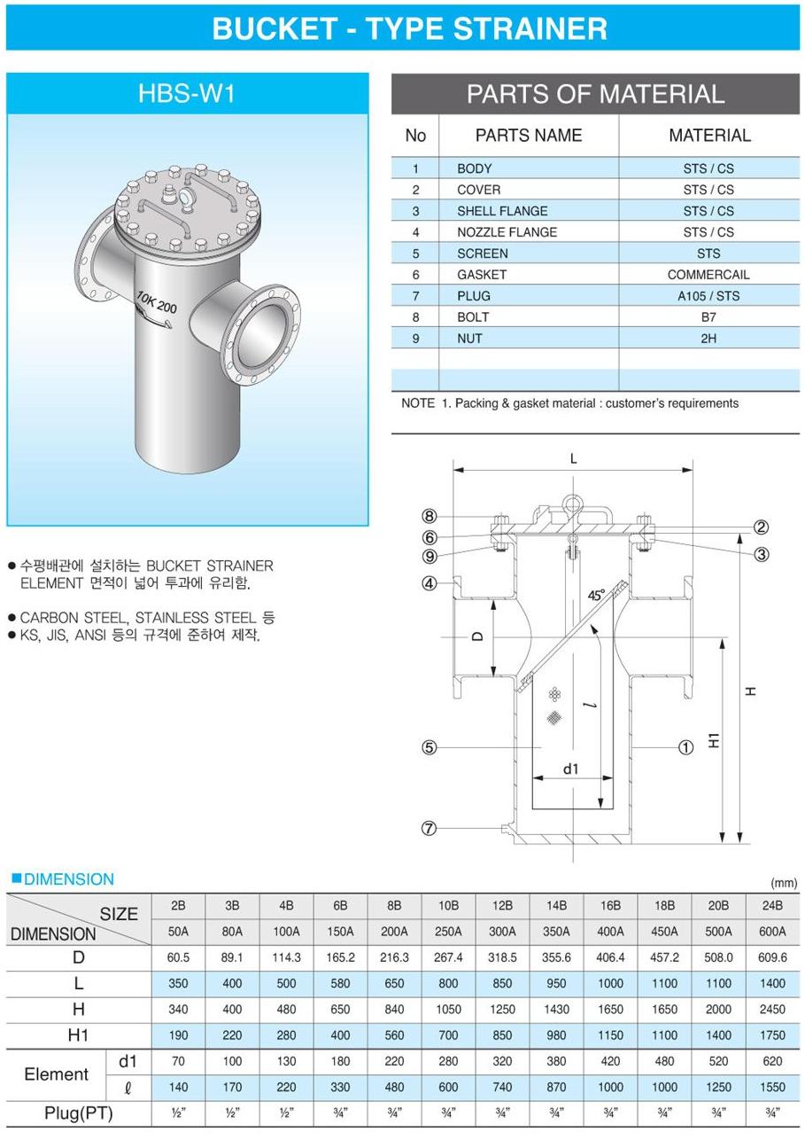 (주)신흥밸브공업 Bucket Type Strainer