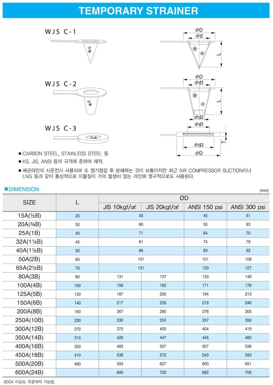 (주)신흥밸브공업 Temporary Strainer WJS C-1/2/3